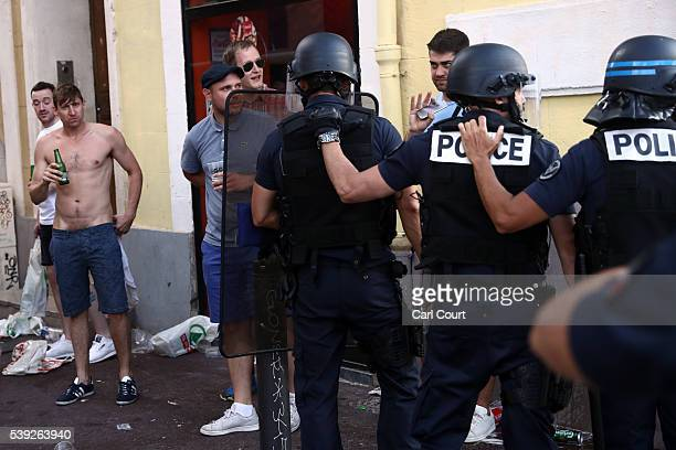 England football fans clash in Marseille ahead of the opening game of the UEFA Euro 2016 tournament later today on June 10 2016 in Marseille France...