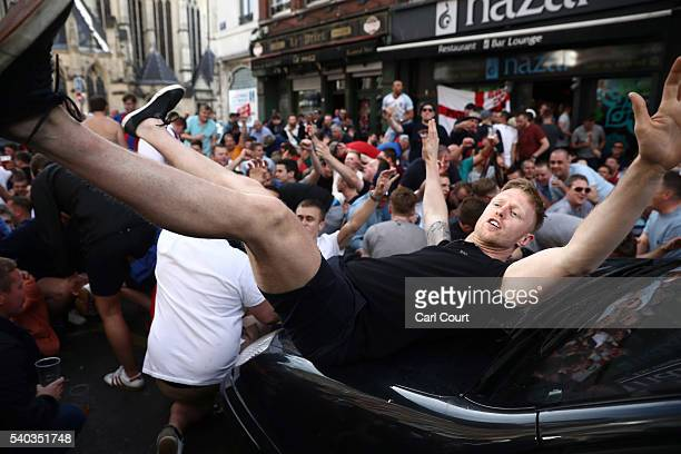 England football fans enjoy the atmosphere on June 15 2016 in Lille France Football fans from around Europe have descended on France for the UEFA...