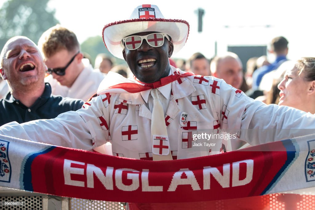 England football fans gather ahead of a Hyde Park screening of the FIFA 2018 World Cup semi-final match between Croatia and England on July 11, 2018 in London, United Kingdom.The winner of this evening's match will go on to play France in Sunday's World Cup final in Moscow. Up to 30,000 free tickets were available by ballot for the biggest London screening of a football match since 1996.
