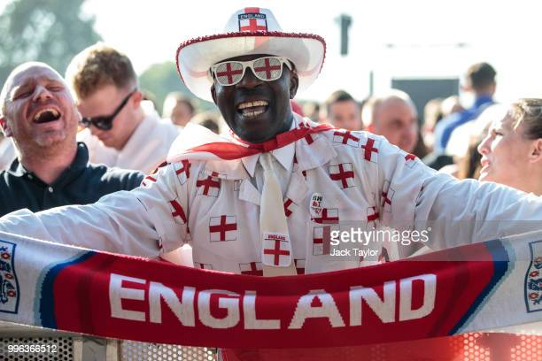 England football fans gather ahead of a Hyde Park screening of the FIFA 2018 World Cup semifinal match between Croatia and England on July 11 2018 in...