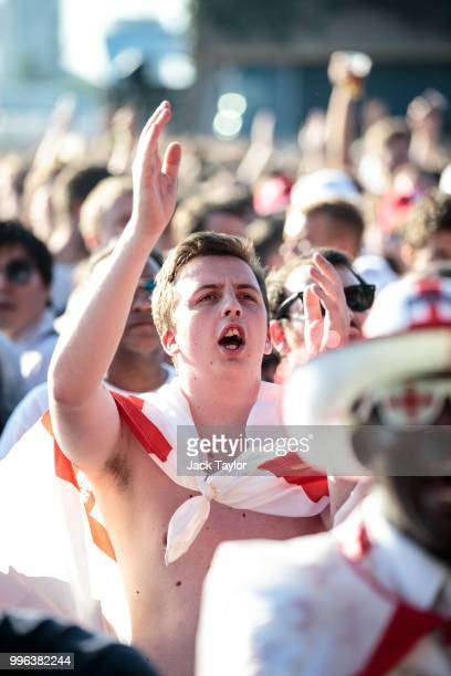 England football fans look on during a Hyde Park screening of the FIFA 2018 World Cup semifinal match between Croatia and England on July 11 2018 in...