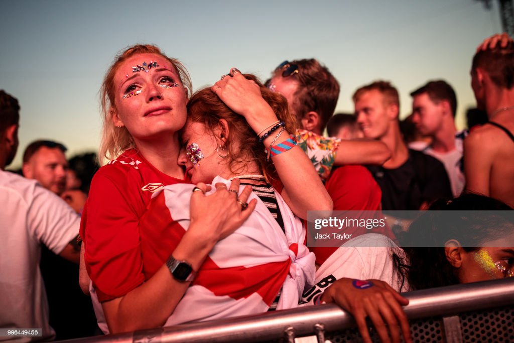 England football fans react after their defeat as they watch the Hyde Park screening of the FIFA 2018 World Cup semi-final match between Croatia and England on July 11, 2018 in London, United Kingdom.The winner of this evening's match will go on to play France in Sunday's World Cup final in Moscow. Up to 30,000 free tickets were available by ballot for the biggest London screening of a football match since 1996.
