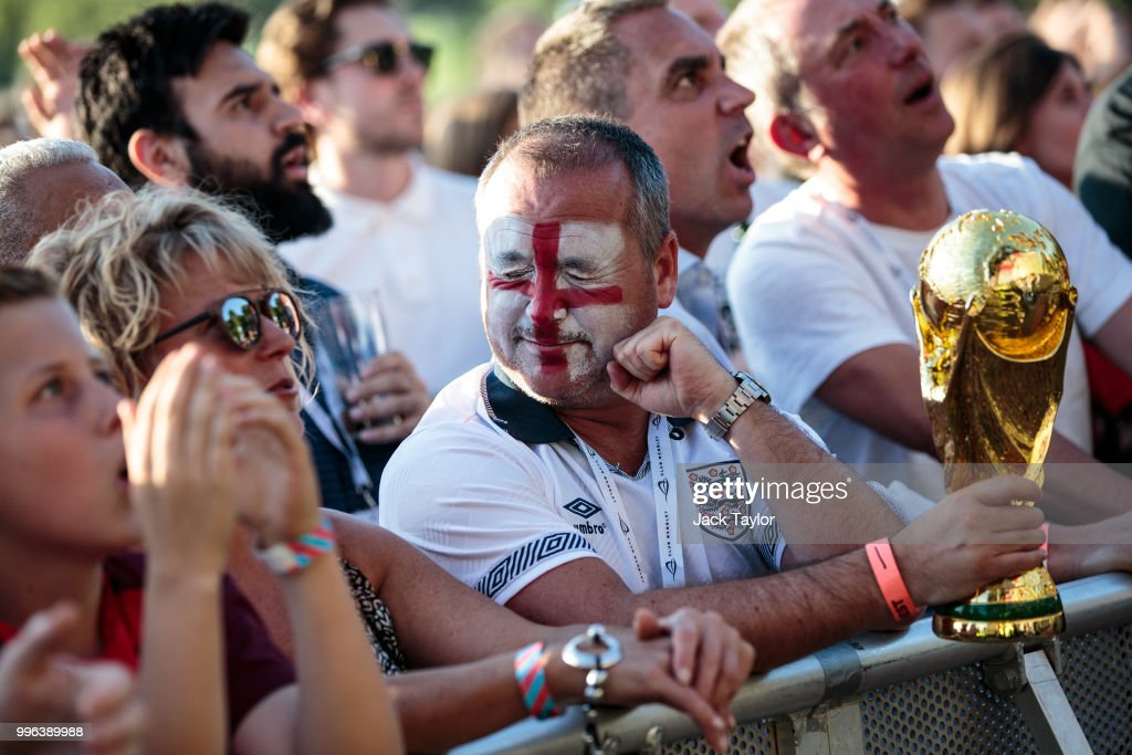 England football fans react as they watch the Hyde Park screening of the FIFA 2018 World Cup semi-final match between Croatia and England on July 11, 2018 in London, United Kingdom.The winner of this evening's match will go on to play France in Sunday's World Cup final in Moscow. Up to 30,000 free tickets were available by ballot for the biggest London screening of a football match since 1996.