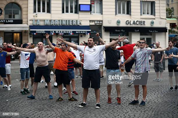 England football fans shout as they clash with police in Marseille on June 10 2016 in Marseille France Football fans from around Europe have...