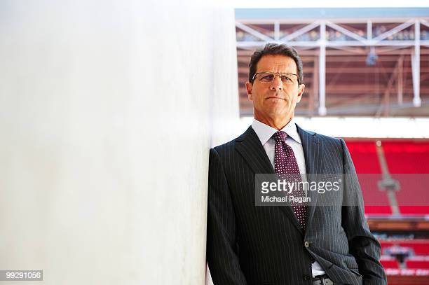 England football manager Fabio Capello poses for a portrait shoot in London on April 8, 2010.