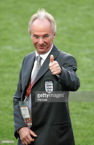 England Football Manager Sven Goran Erickisson gives the thumbs up prior to the France v England Group B match in the 2004 UEFA European Football...