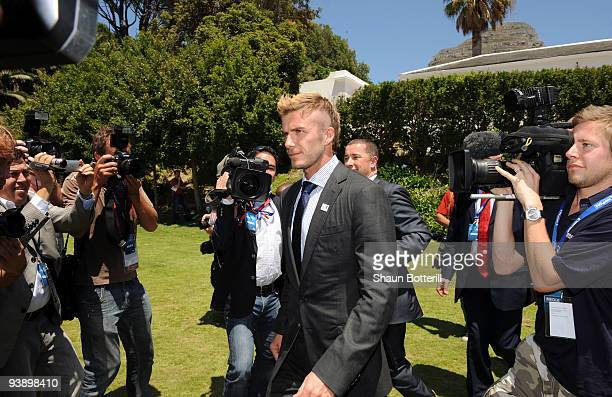 England football player David Beckham attends the media expo for countries bidding to host the FIFA World Cup 2018 December 4, 2009 at the...