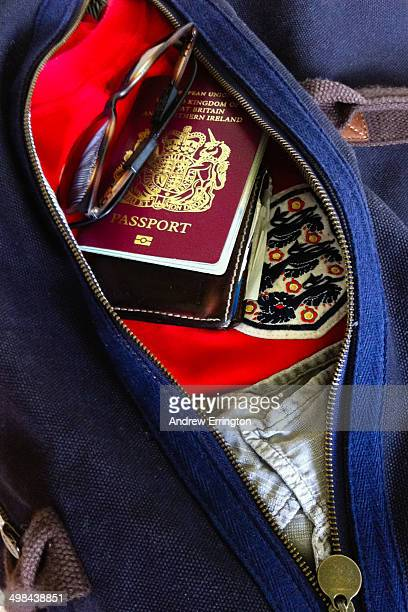 England football supporter's hand luggage