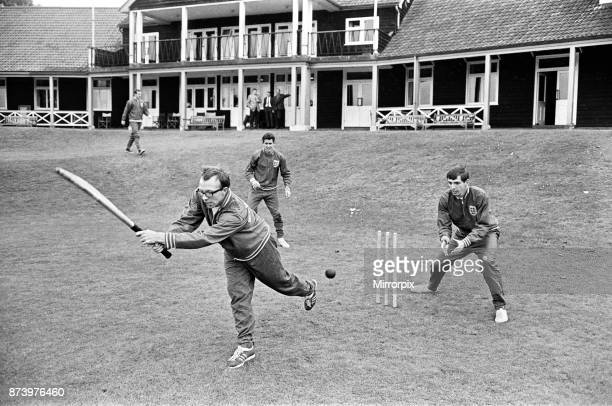 England football team at Roehampton training camp during the 1966 World Cup tournament A bespectacled Nobby Stiles tries his hand at batting during a...