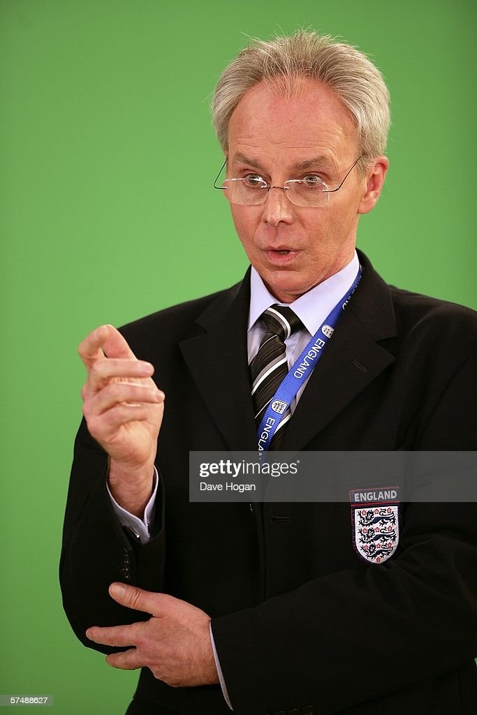 England football team manager Sven-Goran Eriksson lookalike Derek Williams is filmed for the video to accompany an England World Cup song 'Who Do You Think You Are Kidding, Jurgen Klinsmann,' at Camden Studios on April 28, 2006 in London, England. British sporting celebrities Sir Geoff Hurst, Frank Bruno and Martin Peters and actor Bill Pertwee join the Tonedef All-Stars at the shoot. The single is due for release on May 29, 2006.