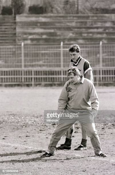 England football team training session February 1987. Pictured at training ground, England manager Bobby Robson with England player Terry Butcher.