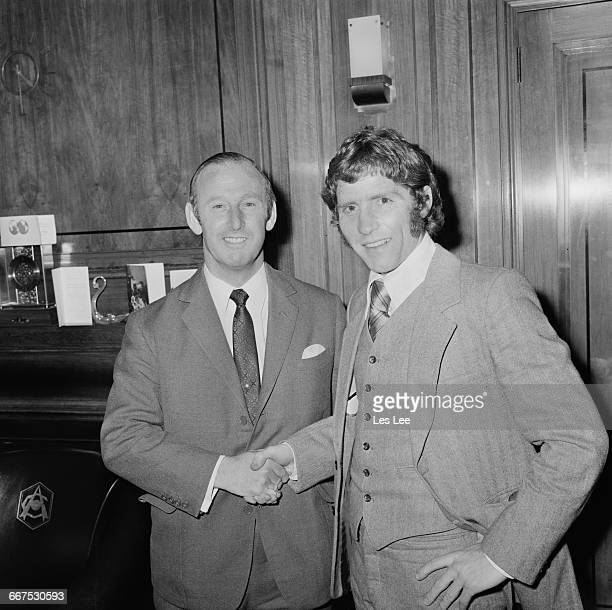 England footballer Alan Ball Jr with Arsenal manager Bertie Mee after signing with Arsenal FC for a British cash record fee UK 22nd December 1971