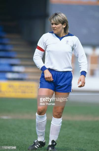 England footballer Debbie Bampton during a Women's Soccer International between England and the Republic of Ireland at Reading, 27th April 1986....