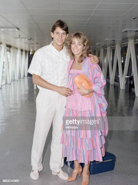 England footballer Gary Lineker with his wife Michelle at London Heathrow 6th July 1986