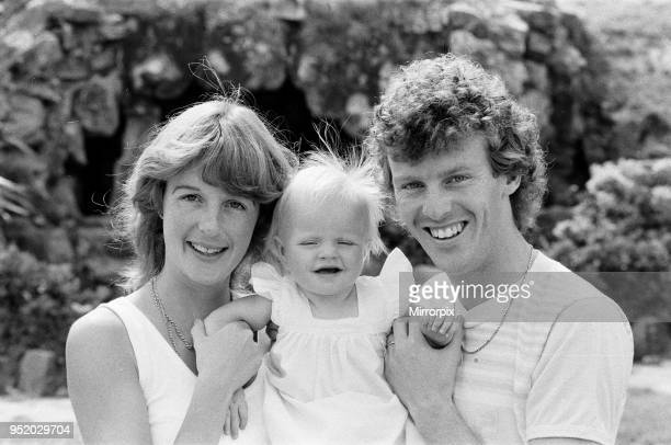 England footballer Graham Rix relaxing with his wife and baby girl at the team hotel during the 1982 World Cup Finals in Spain 21st June 1982