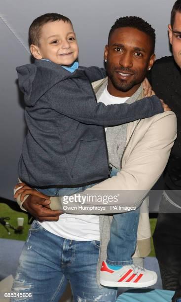 England footballer Jermain Defoe with terminally ill football mascot Bradley Lowery as he celebrates his sixth birthday at Blackhall Cricket Club...