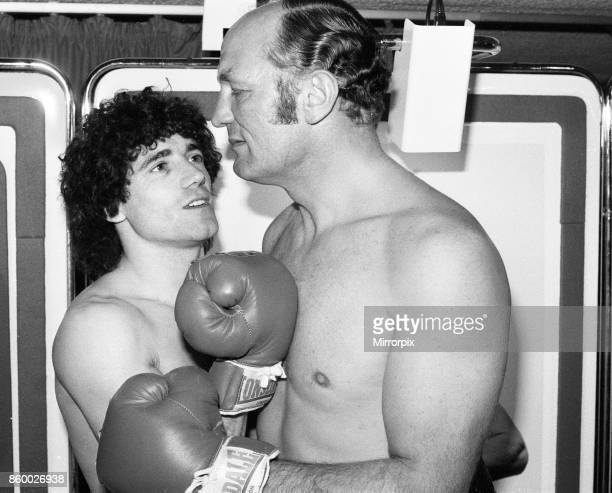 England footballer Kevin Keegan with former British boxer Henry Cooper filming a commercial for Faberge product Brut 33 Keegan and Cooper were...