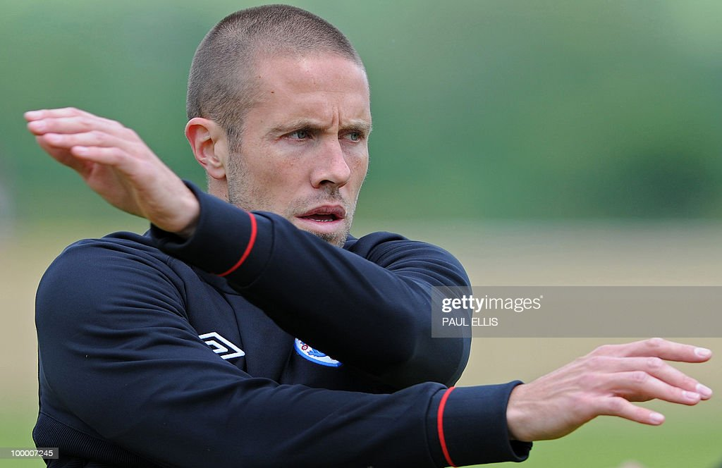 England footballer Matthew Upson stretches during a team training session in Irdning, Austria on May 19, 2010 ahead of the World Cup Finals in South Africa.