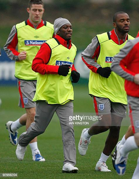 England footballer Shaun Wright Phillips attends a training session at Arsenal's Training facility in London Colney, north London, on November 10,...