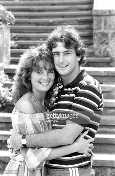 England footballer Trevor Francis in relaxed mood posing with his wife at the team hotel during the 1982 World Cup Finals in Spain 21st June 1982