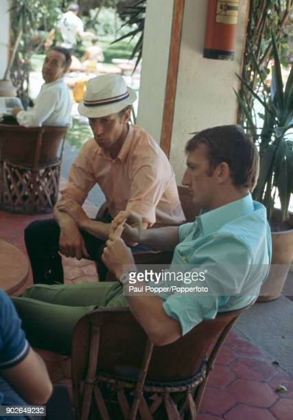 England footballers Alex Stepney and Jack Charlton playing cards at the Hilton Hotel in Guadalajara during the 1970 FIFA World Cup in Mexico 30th May...