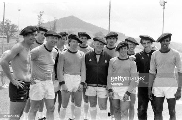 England footballers and management in relaxed mood wearing basque style berets at the team hotel during the 1982 World Cup Finals in Spain Trevor...