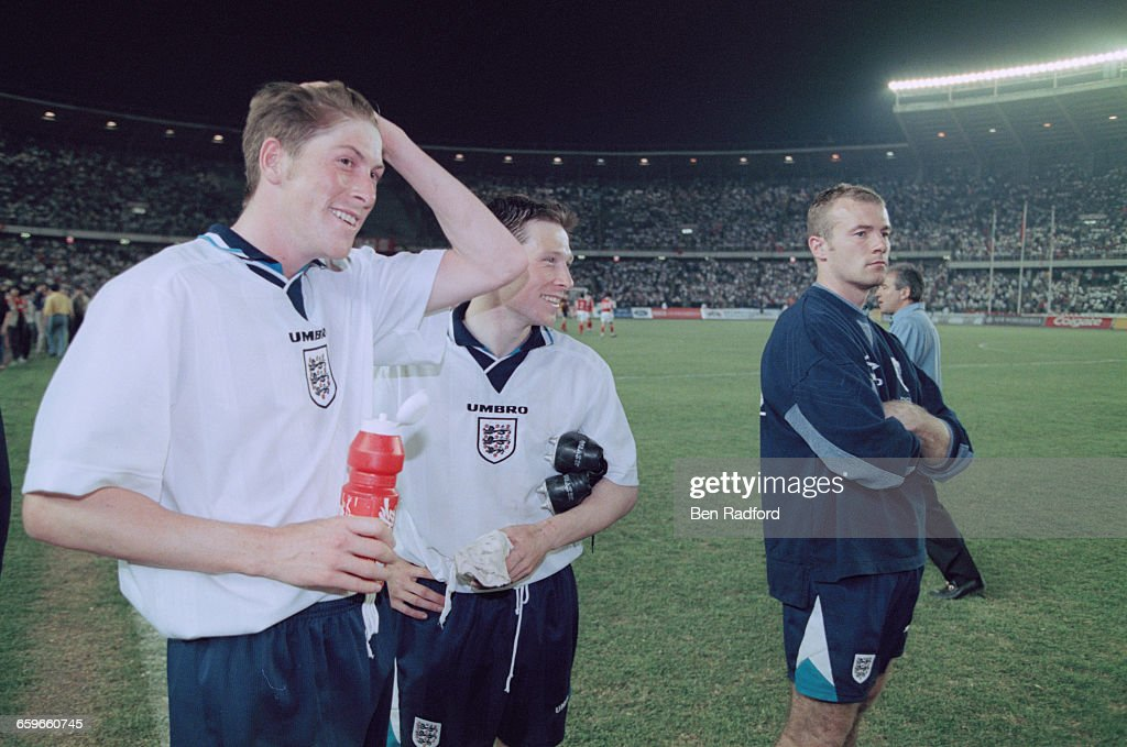 England footballers (left to right) Darren Anderton, Nick Barmby and Alan Shearer after an International Friendly Match against China at the Workers' Stadium in Beijing during the England football team's tour of Hong Kong and China, 23rd May 1996. England won the match 3-0, with Barmby scoring the first two goals.