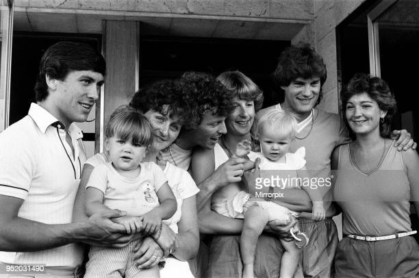 England footballers relaxing with their wives and children at the team hotel during the 1982 World Cup Finals in Spain Left to right are Kenny Sanson...