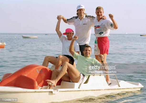 England footballers Steve McMahon Steve Bull Chris Waddle and Paul Gascoigne relax on a pedalo in the Bay of Naples Italy circa July 1990