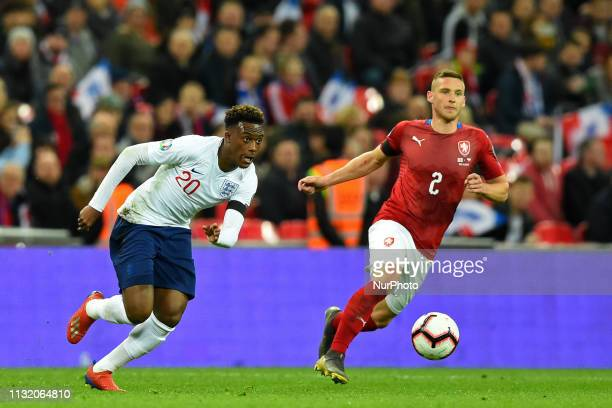 England forward Callum HudsonOdoi looks to break during the UEFA European Championship Group A Qualifying match between England and Czech Republic at...