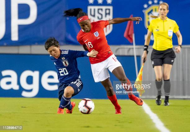 England forward Chioma Ubogagu beats Japan Forward Kumi Yokoama during the She Believes Cup match between the Japan and England on March 5 2019 at...