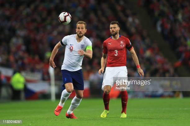 England forward Harry Kane and Czech Republic defender Ondrej Celustka during the UEFA European Championship Group A Qualifying match between England...