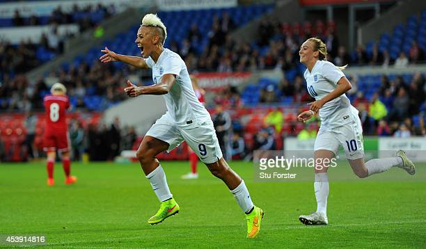 England forward Lianne Sanderson celebrates after scoring the fourth England goal during the FIFA 2015 Women's World Cup Group 6 Qualifier between...