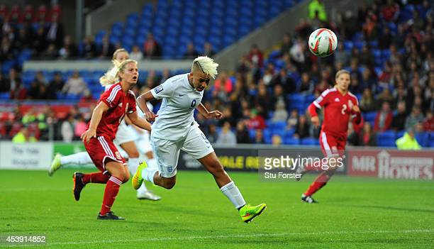 England forward Lianne Sanderson heads in the fourth England goal during the FIFA 2015 Women's World Cup Group 6 Qualifier between Wales and England...
