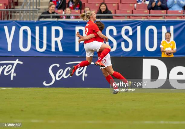 England forward Lucy Stanforth scores Englands first goal of the game and celebrates with England forward Beth Mead during the She Believes Cup match...