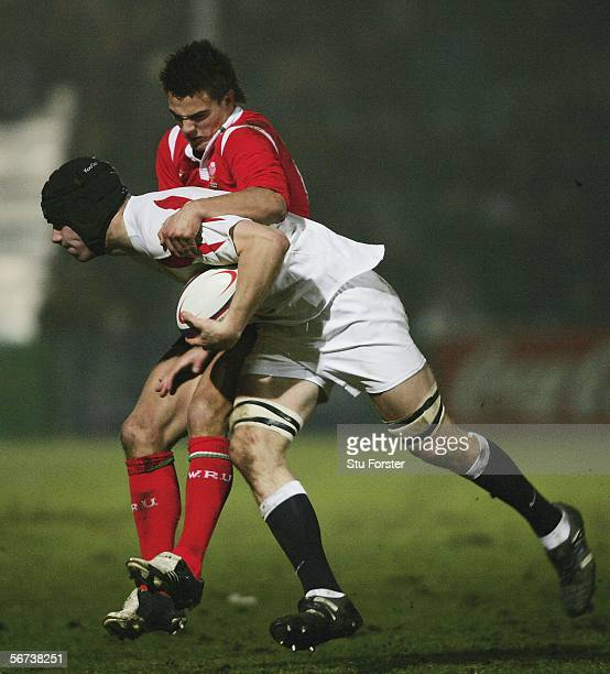 England forward Tom Croft is tackled by Chris Czekaj of Wales during the International Match between England U21's and Wales U21's on February 3 2006...
