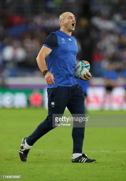 England forwards coach Steve Borthwick barks out orders during the warm up before the Rugby World Cup 2019 SemiFinal match between England and New...