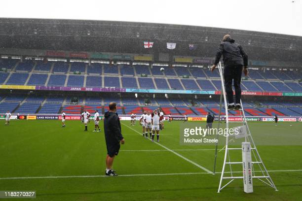 England forwards coach Steve Borthwick throws balls to Jamie George during the England Captain's Run ahead of the 2019 Rugby World Cup SemiFinal...