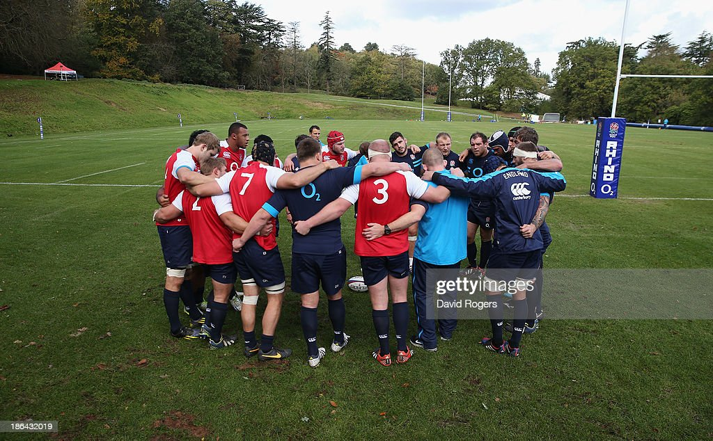 England forwards gather during the England training session held at Pennyhill Park on October 29, 2013 in Bagshot, England.