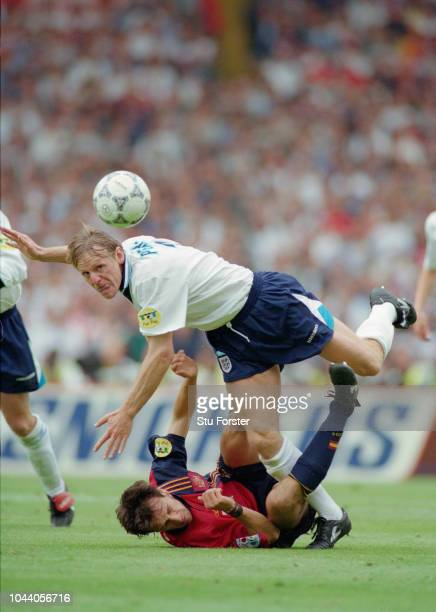 England fullback Stuart Pearce rides a tackle during the 1996 UEFA Euro 96' quarter final match against Spain at Wembley Stadium on June 22 1996 in...