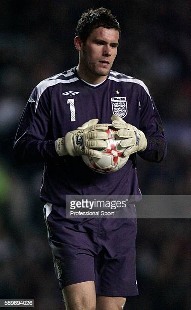 England goalakeeper Ben Foster in action during the International friendly match between England and Spain at Old Trafford on February 7 2007 in...