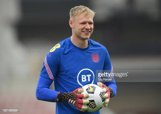 England goalkeeper Aaron Ramsdale looks on during the warm up before the international friendly match between England and Austria at Riverside...