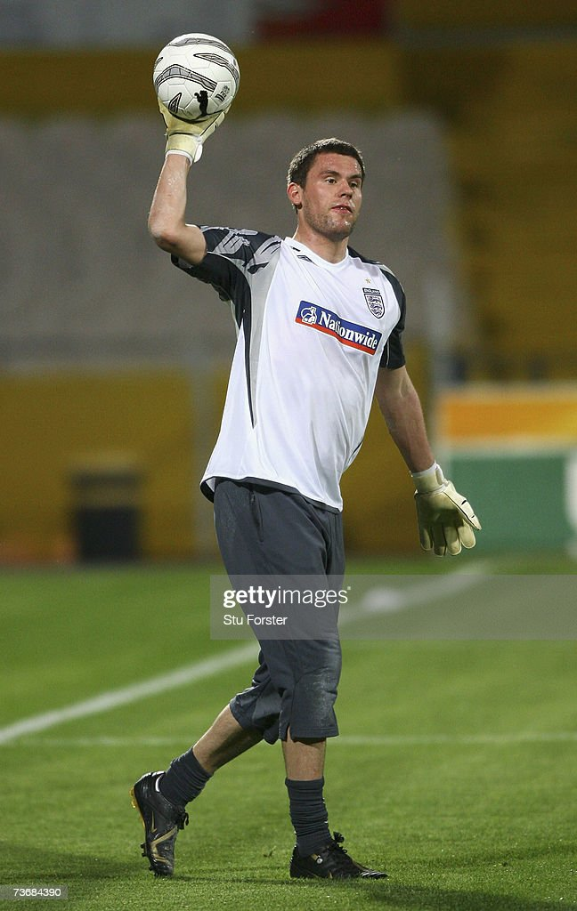 England goalkeeper Ben Foster throws the ball out during England training today at The Ramat Gan Stadium ahead of tomorrows Euro 2008 Qualifier against Israel on March 23, 2007 in Tel Aviv, Israel.