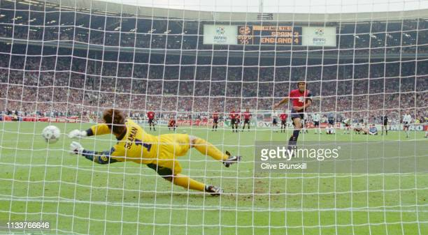 England goalkeeper David Seaman saves a penalty from Spain player Angel Nadal during the penalty shoot out during the 1996 UEFA European...