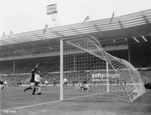 England goalkeeper Gordon Banks fails to prevent Jim McCalliog from scoring Scotland's third goal during an England V Scotland match at Wembley,...