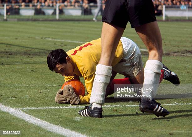 England goalkeeper Gordon Banks gathers the ball during the FIFA World Cup Final between England and West Germany at Wembley Stadium in London 30th...
