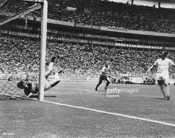 England goalkeeper Gordon Banks hits the ground after making one of the most famous saves in football history during a 1970 World Cup match in...