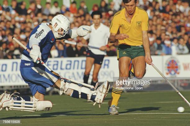 England goalkeeper Ian Taylor pictured in action during play against Australia in the final of the 1986 Men's Hockey World Cup in London on 19th...