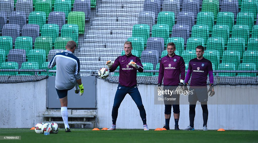 England goalkeeper Joe Hart (2nd left) in action during England Training ahead of sunday's UEFA EURO 2016 Qualifier between Slovenia and England at Stozice on June 13, 2015 in Ljubljana, Slovenia.