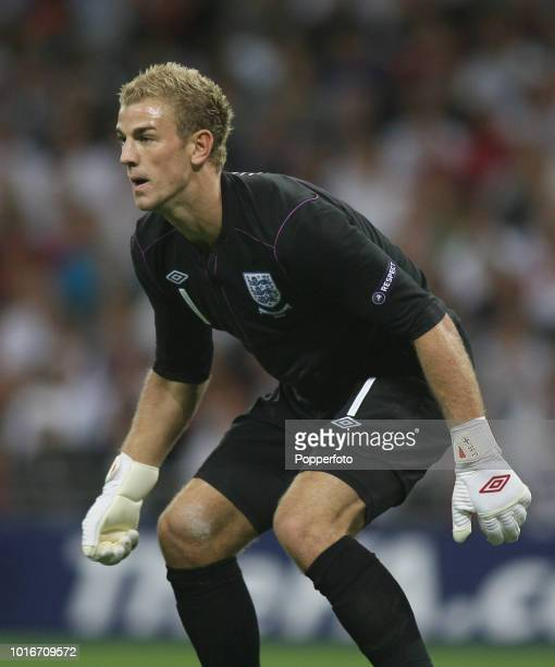 England goalkeeper Joe Hart in action during the UEFA EURO 2012 Group G Qualifying match between England and Bulgaria at Wembley Stadium in London on...